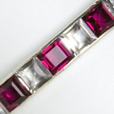 Close-up of ruby & crystal bangle