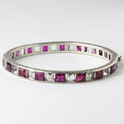 Payco ruby & crystal Art Deco bangle