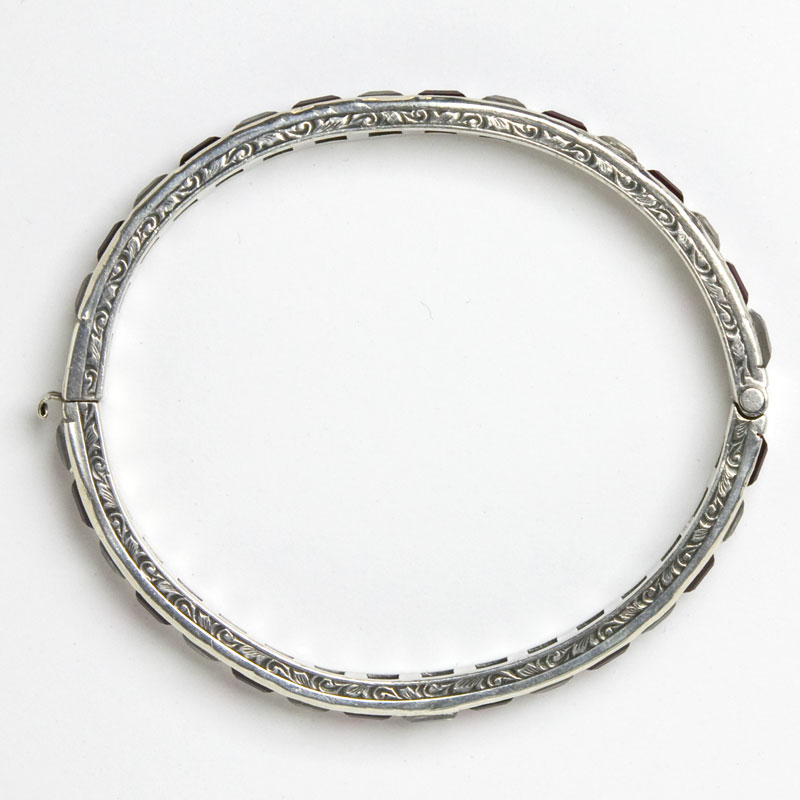 Etched edges of sterling Payco bangle