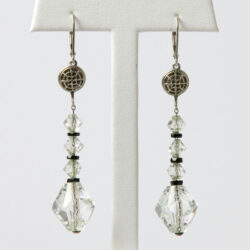 Art Deco crystal earrings with onyx from the 1920s