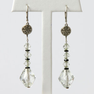 Vintage crystal bead earrings with onyx from the 1920s