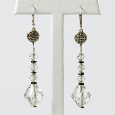 Vintage crystal bead earrings with onyx