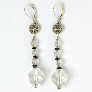 Long crystal bead & onyx Art Deco earrings