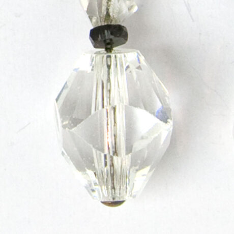 Close-up view of faceted lampshade-shaped bead
