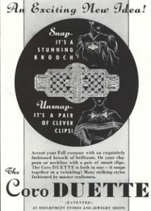First ad for Coro Duette Brooch