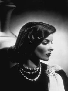 Katharine Hepburn wearing Paul Flato jewelry