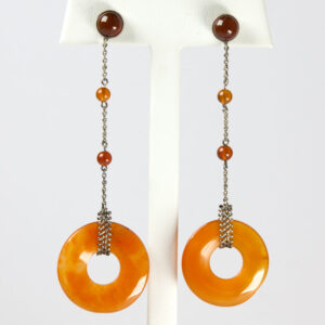 Vintage carnelian earrings in German Art Deco design