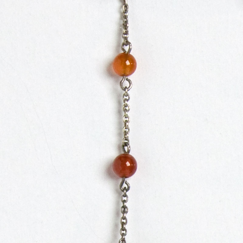 Carnelian beads on sterling silver chain