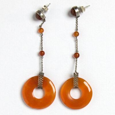 Back of carnelian ring Art Deco earrings