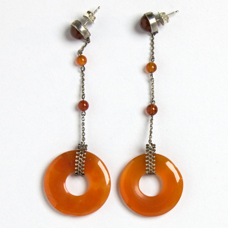 Back of carnelian ring Art Deco earrings