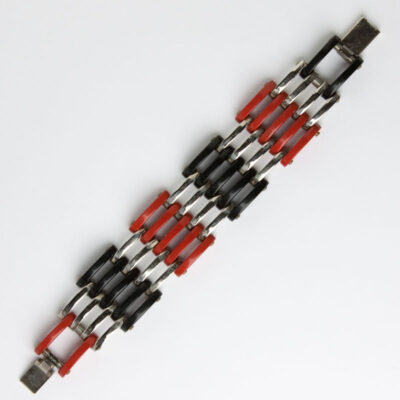Red, black & chrome grill bracelet