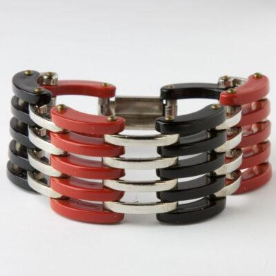 Red & black Bakelite & chrome bracelet