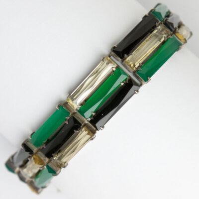1930s bracelet in onyx, chrysoprase & citrine