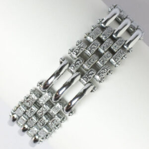 Chrome bracelet with curved & textured links