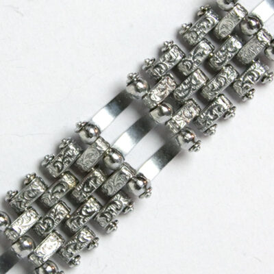 Close-up view of back of curved and textured links