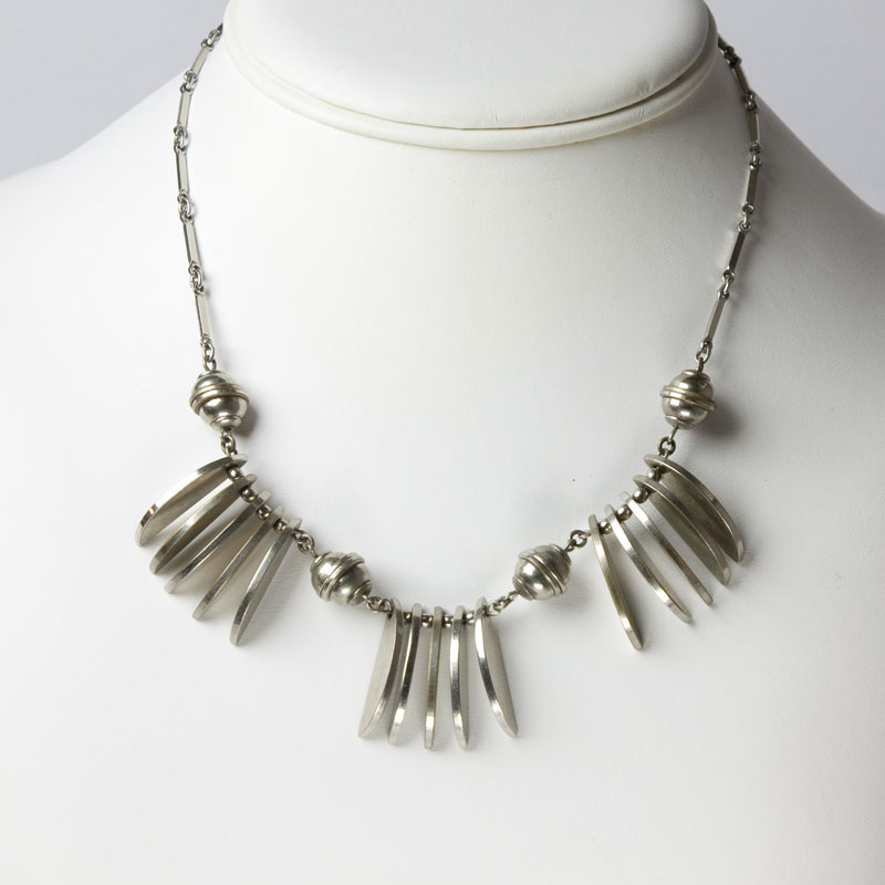 Chrome necklace with disks & balls