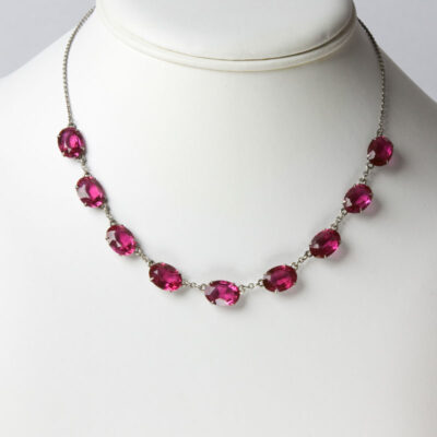 Vintage glass necklace in ruby red