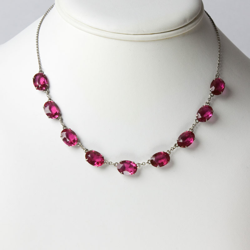 Vintage Glass Necklace Luscious Ruby Red Art Deco Piece