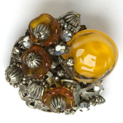 Citrine brooch with golden topaz flowers