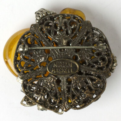 Back of Miriam Haskell citrine brooch