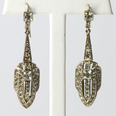 Vintage dangle earrings in silver with diamante