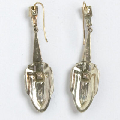 Back of diamante dangle earrings