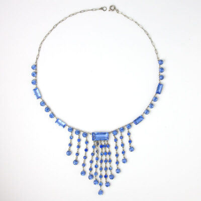 Sapphire glass stone fringe necklace