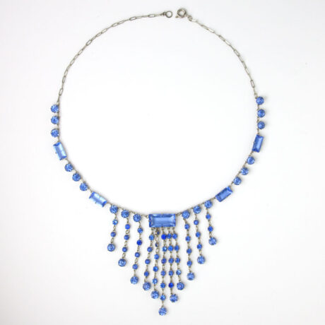 Sapphire glass stone necklace