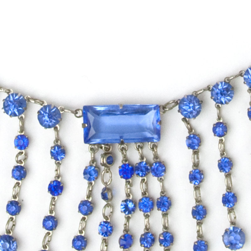 Close-up view of Art Deco fringe necklace