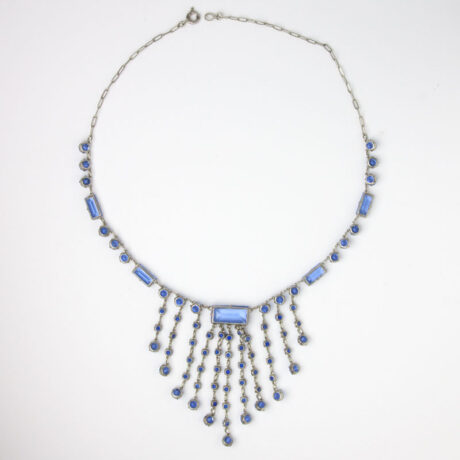 Back of sapphire glass stone necklace