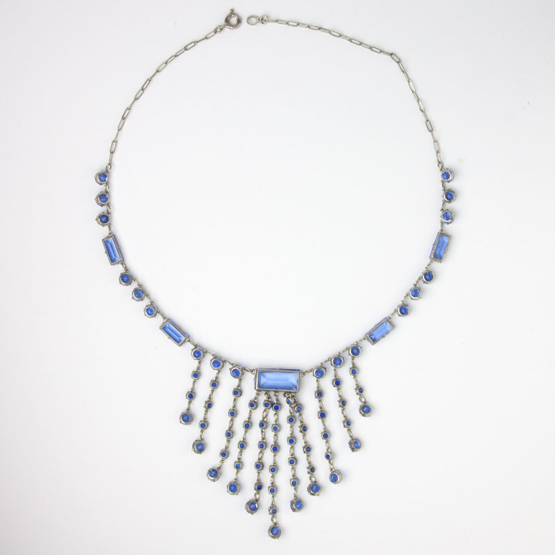 Back of sapphire glass stone fringe necklace
