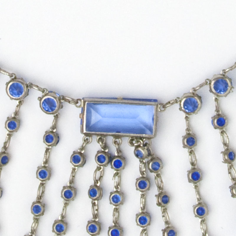 Close-up view of fringe necklace