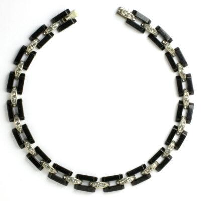 Bakelite & Diamanté-embellished link necklace