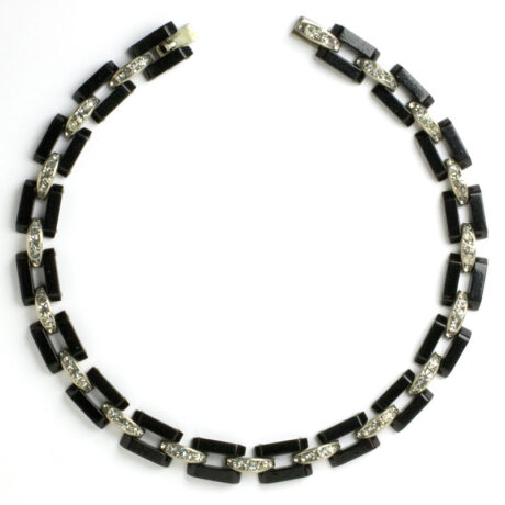 Bakelite & Diamanté-embellished link necklace