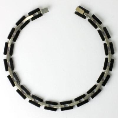 Back of Bakelite & diamanté link necklace