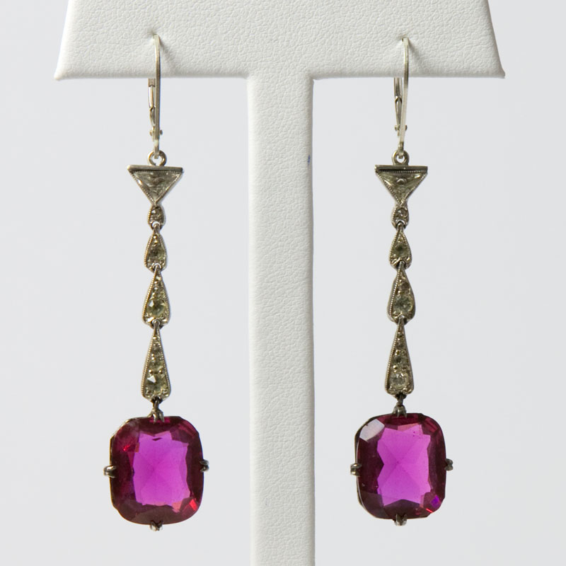 1920s earrings with ruby glass, diamante & sterling
