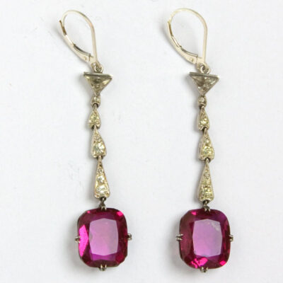 Ruby, diamante & sterling Art Deco earrings