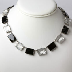 Chicklet necklace with black onyx and crystal rectangles