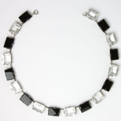Onyx & crystal chicklet necklace front