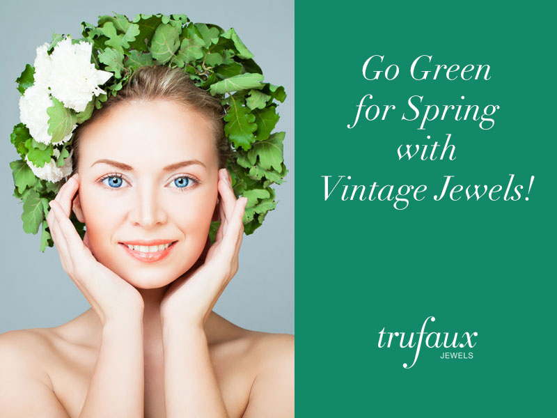 Green costume jewelry for spring