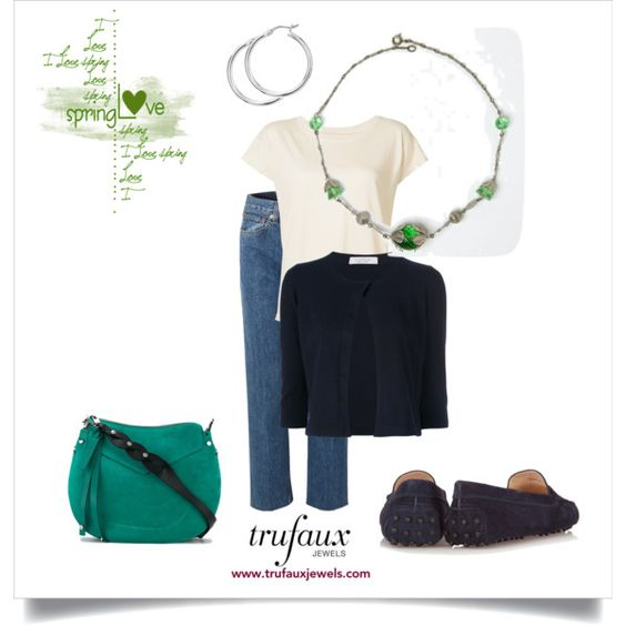 Jeans & blazer with spring-green bead & chrome necklace