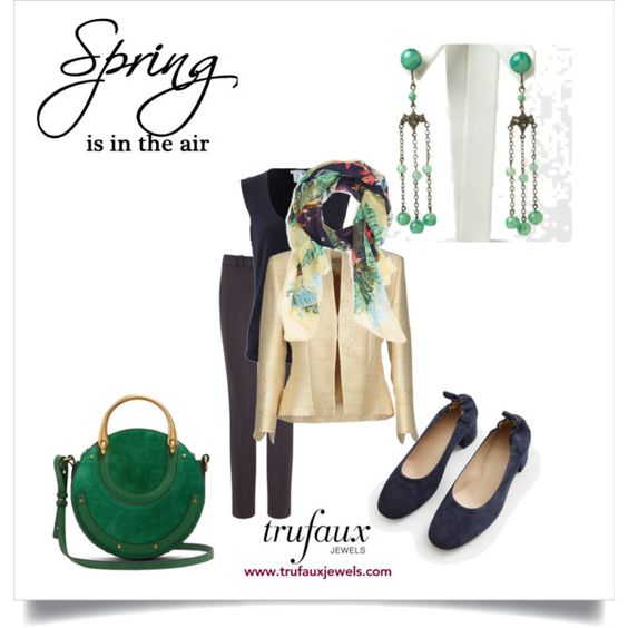 Outfit featuring Art Deco green bead chandelier earrings