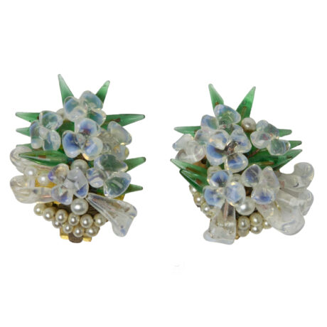 1950s French ear clips w/pearls & glass beads