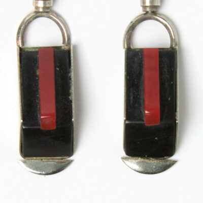 Black & red Galalith earring drops