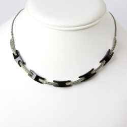 Vintage black Bakelite necklace with diamanté links.