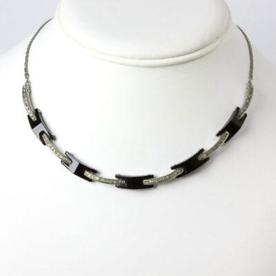 Machine Age necklace with Bakelite & diamanté