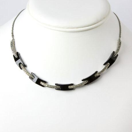 Vintage black Bakelite necklace with diamanté links.