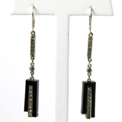 1930s earrings with black Bakelite & diamanté