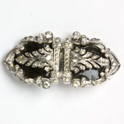 Double clip enamel & diamante brooch by DeRosa