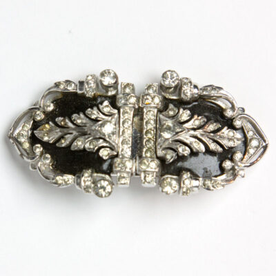 Double clip enamel & diamante brooch by De Rosa